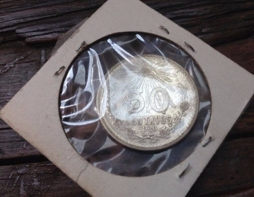moneda mexicana revolucionaria de plata 50 centavos 1920