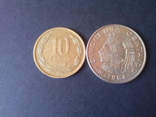 moneda mexico 50 centavos niquel 1964