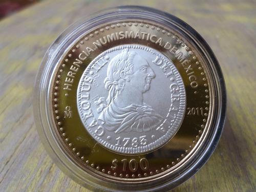 moneda mexico carlos iii busto100 pesos herencia numismatica