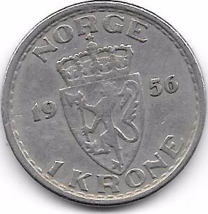 moneda noruega 1 corona (1956)  cobre-niquel
