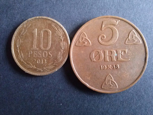 moneda noruega 5 ore bronce 1938