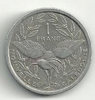 moneda nueva caledonia 1 franco (1977) ave