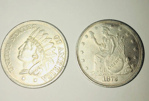 moneda one dollar 3.8 cm 2 monedas 1851 1872 estados unidos
