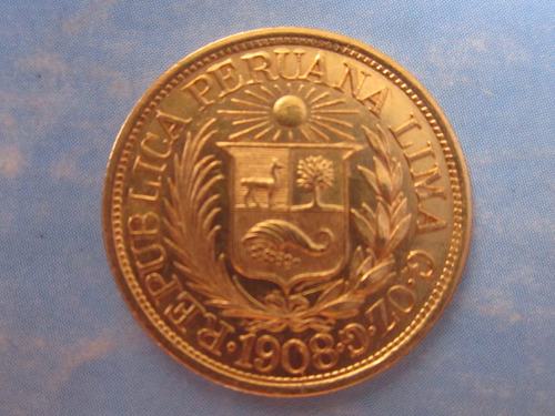 moneda oro 1/2 media libra peru 22 kilates año 1908 escasa