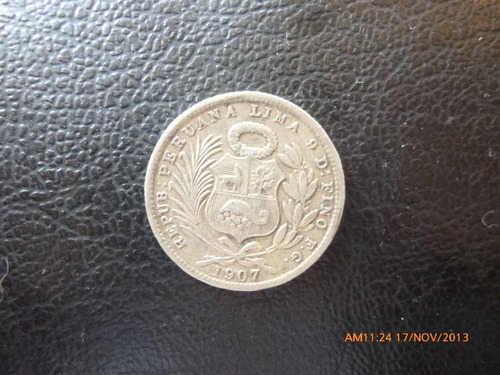 moneda peru 1/5 sol 1907   plata 0.900 (1041z