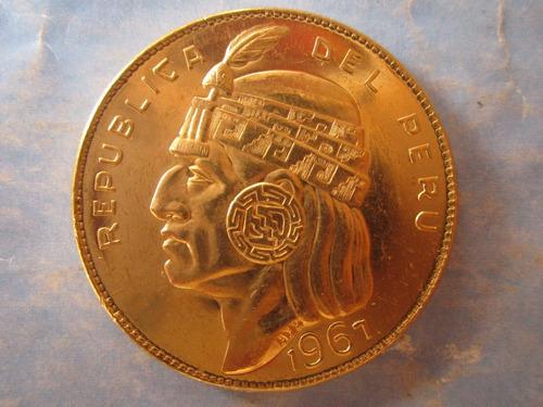 moneda peru 50 soles oro año 1967 inca pachacutec escaso