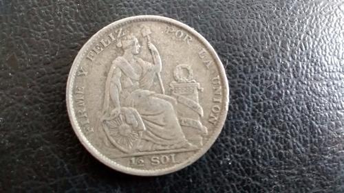 moneda peru medio sol 1923  plata (1077z