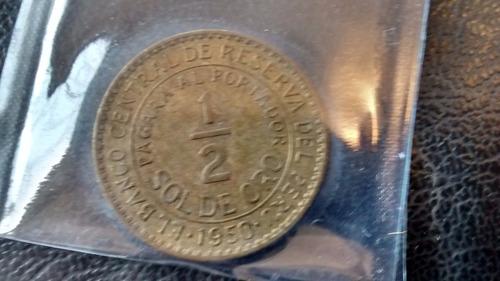 moneda peru medio sol de oro 1950  (499z