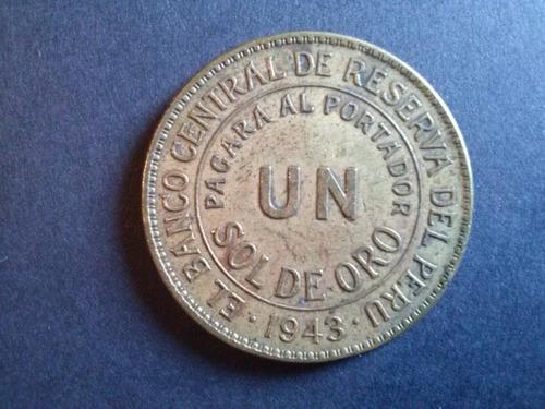 moneda peru un sol de oro bronce 1943 (c18)