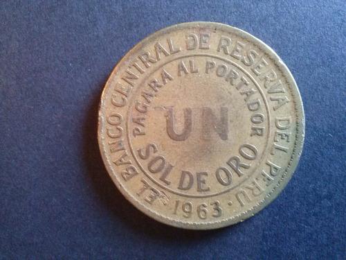 moneda peru un sol de oro bronce 1963 (c18)