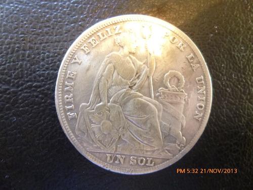moneda peru un sol de plata 1926 plata 0.500 (972z