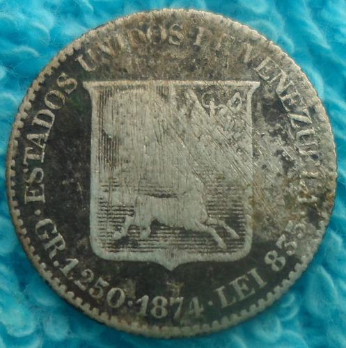 moneda plat de 1/4 de bolivar,10 centavos de venezolano 1874