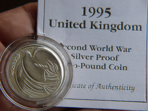 moneda plata 2 pounds ii world war 1995 dove del reino unido