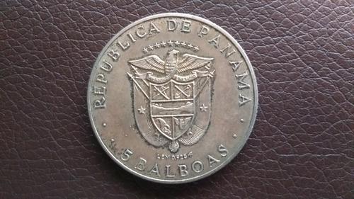 moneda plata 5 balboas panama 1970 antigua coleccion