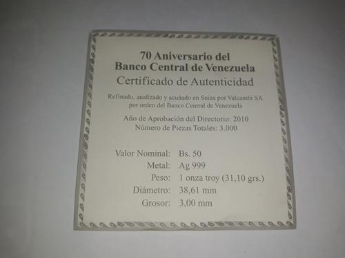 moneda plata 70 aniversario bcv