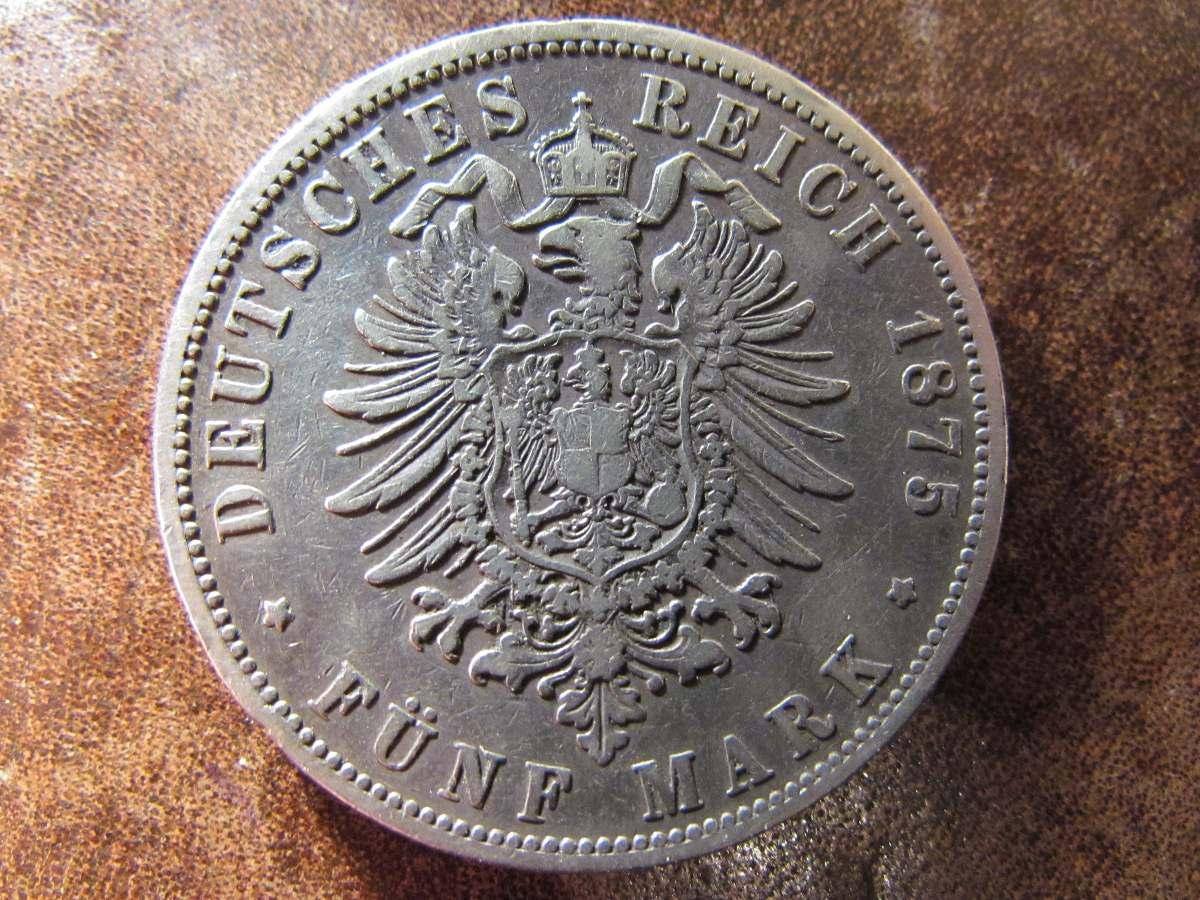 Moneda Plata Alemania 1875 B Fünf Mark Reich Cinco Marcos - $ 35.000 ...