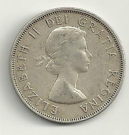 moneda plata canada 50 cents 1954