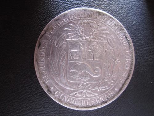 moneda plata lima 5 cinco pesetas moñona guerra pacifico año