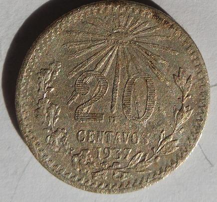 0c18c71d1a6e Moneda Plata Mexico 20 Centavos 1937 -   175.00 en Mercado Libre