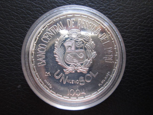 moneda plata señor de sipan peru 1994 un sol conmemorativa