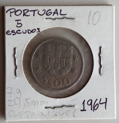moneda portugal 5 escudos 1964 vf/xf