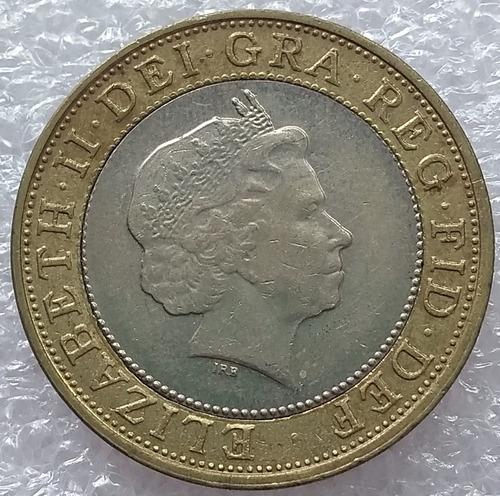 moneda reino unido bimetalica 2 libras two pounds 2001