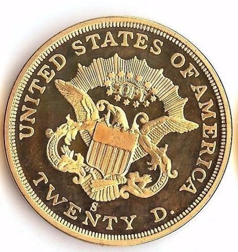 moneda réplica de oro 1854 $20 gold us liberty