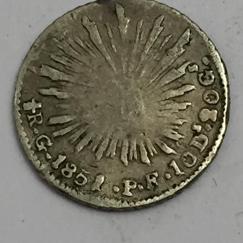 moneda republica 1/2 real guanajuato 1851 pf plata