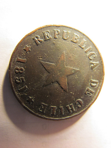 moneda republica de chile un 1 centavo 1851 cobre 3 cms