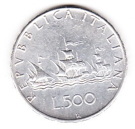 moneda republica italiana l.500   plata