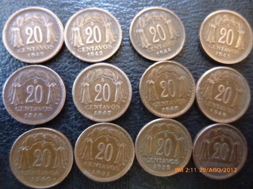 moneda serie completa 20 centavos (d34