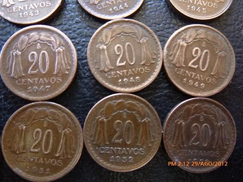 moneda serie completa 20 centavos (d35