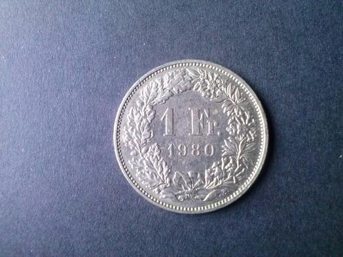 moneda suiza 1 franco niquel sin ceca 1980