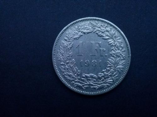 moneda suiza 1 franco niquel sin ceca 1981 (c23)
