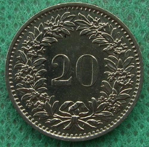 moneda suiza helvetia switzerland 20 rappen 1971
