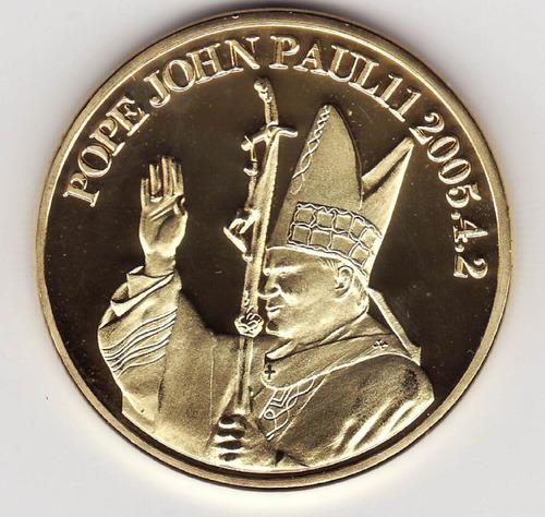 moneda tipo medalla conmemorativa del papa juan pablo 2°