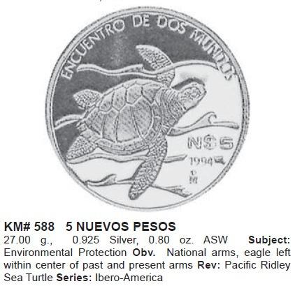 moneda tortuga golfina 1994 serie iberoamericana rara
