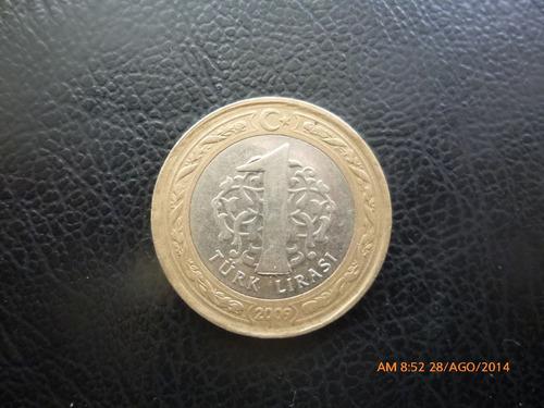 moneda  turkia  1 lira 2009 bimetalica(372z
