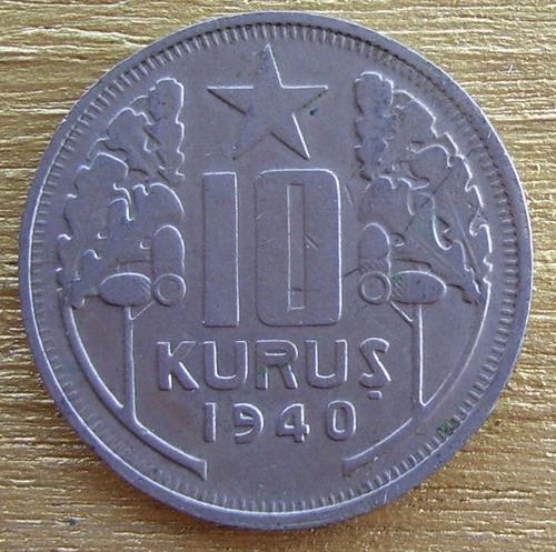 moneda turquia de   10 kurus de 1940