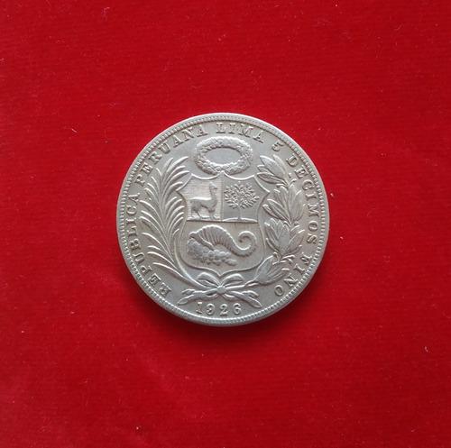 moneda un 1 sol 5 decimos finos 1926 peru