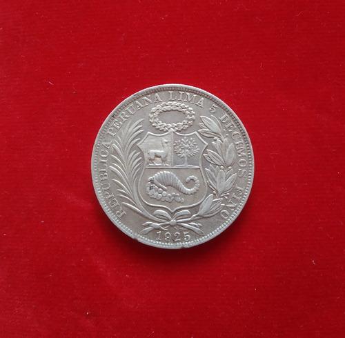 moneda un 1 sol de 5 decimos 1925 peru