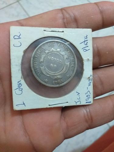 moneda un colon con resello 1903 costa rica.