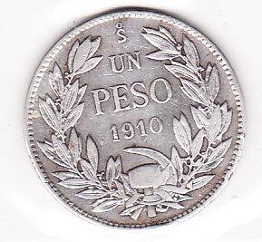 moneda un peso 1910 republica de chile