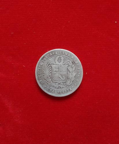 moneda una 1 peseta 9 decimos finos 1880 peru