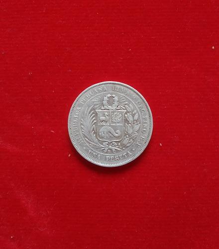 moneda una 1 peseta - moñona - 9 decimos 1880