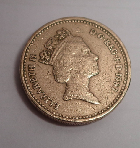 moneda una libra - año 1987 - one pound - inglaterra, londres, gran bretaña - reina elizabeth ii