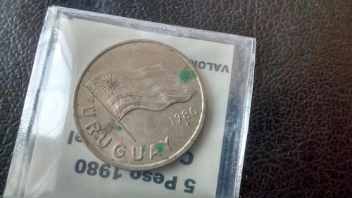 moneda  uruguay - 5 pesos 1980 -  (393z
