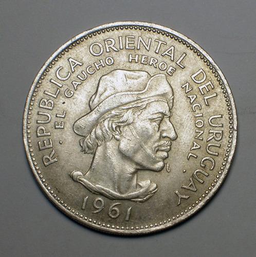 moneda uruguaya de plata de 1961 el gaucho