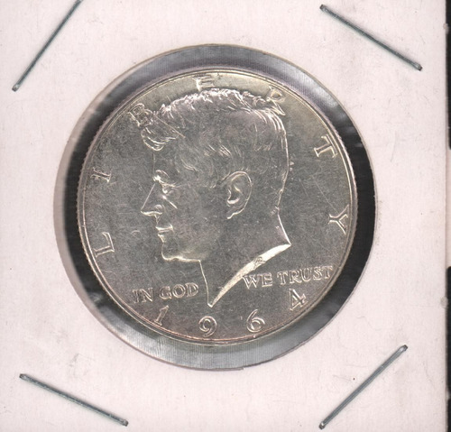moneda usa medio dólar plata 1964 john f. kennedy anverso