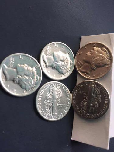moneda usa one dime liberty fecha 1943 plata ley 0.900 18mm